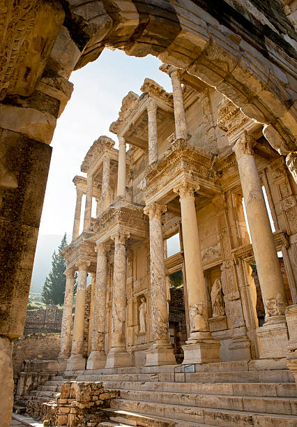 """Library of Celsius, Ephesus """"Library of Celsius, Ephesus. Low angle view with a wide angle lens"""" celsus library stock pictures, royalty-free photos & images"""