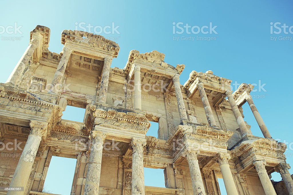 Library of Celsus Ancient Roman Ruins Ephesus Turkey Blue Sky stock photo
