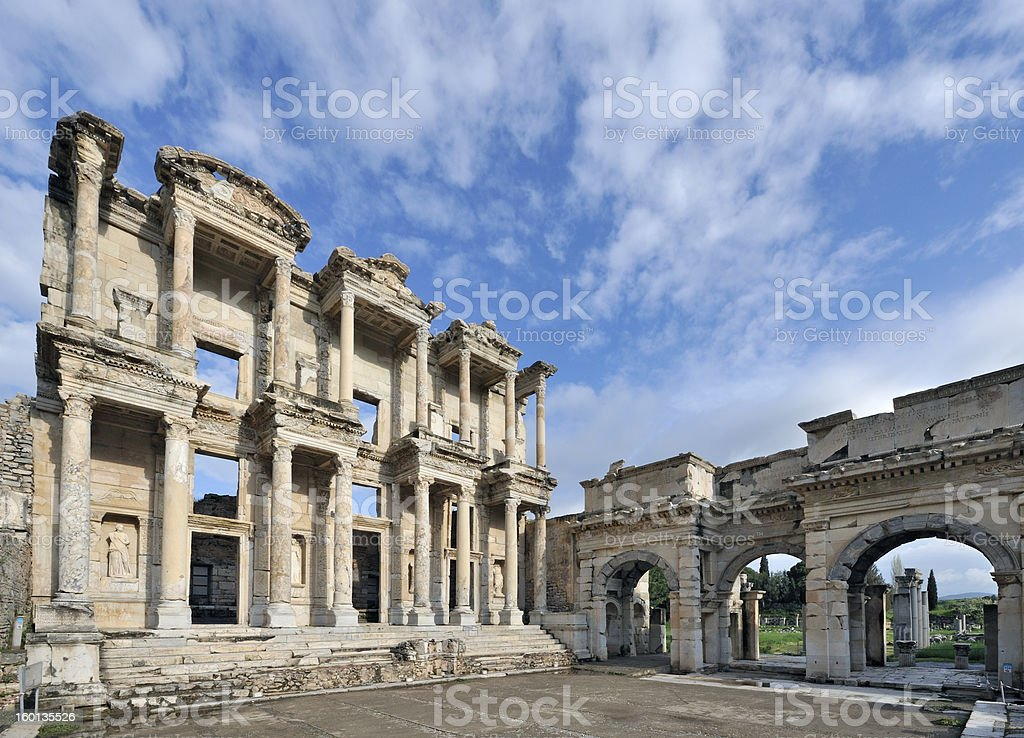 Library of Celsus at Ephesus royalty-free stock photo