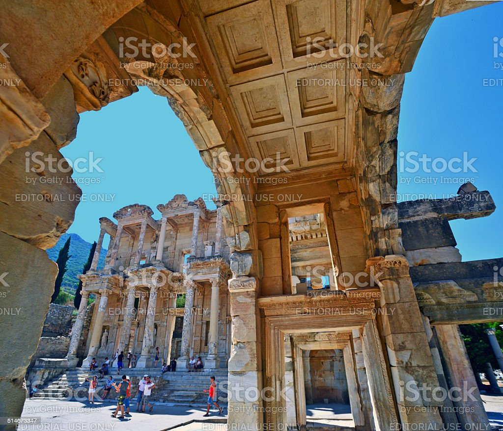 Library Of Celsus at Ephesus. stock photo