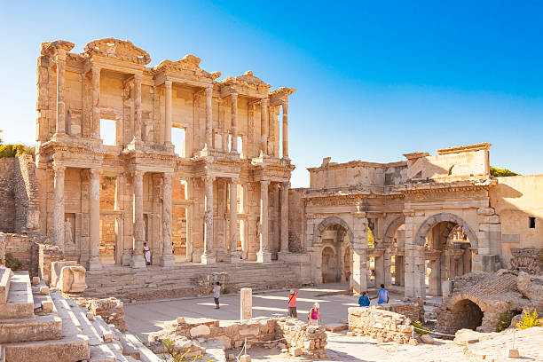 Library of Celsus, Ephesus Aydin, Turkey - August 29, 2010: Many tourists visit the Library of Celsus , Ephesus , Kusadasi Turkey celsus library stock pictures, royalty-free photos & images