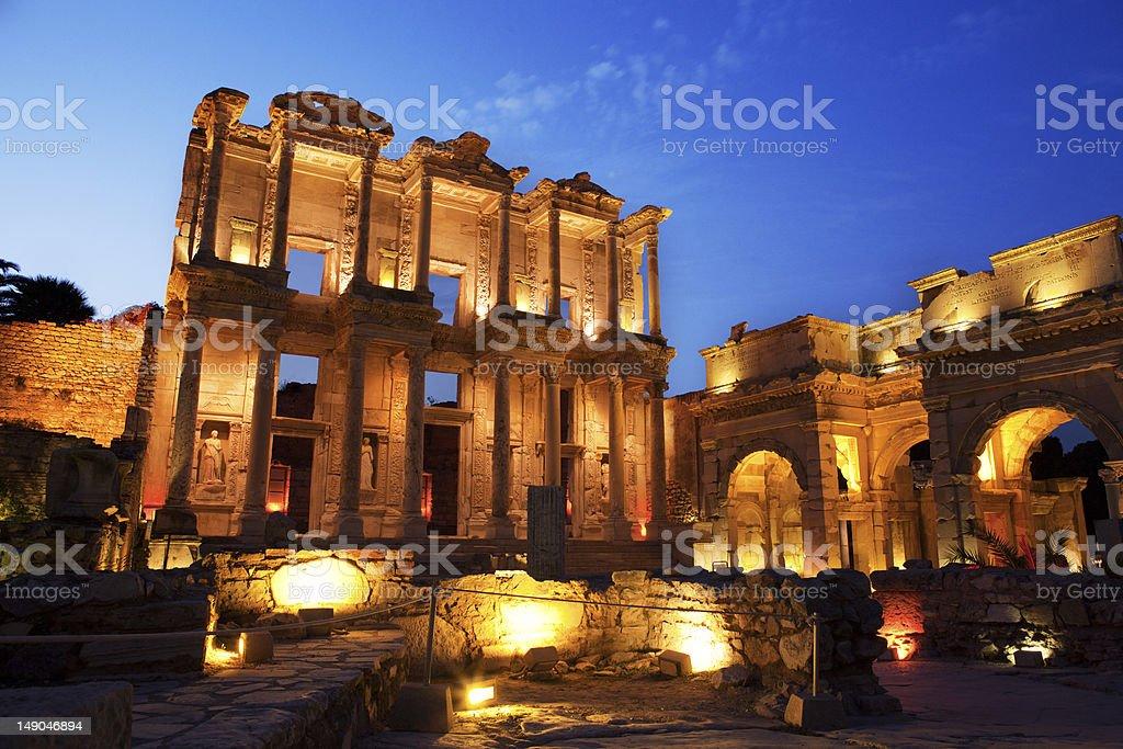 Library of Celsus, Ephesus, Turkey royalty-free stock photo