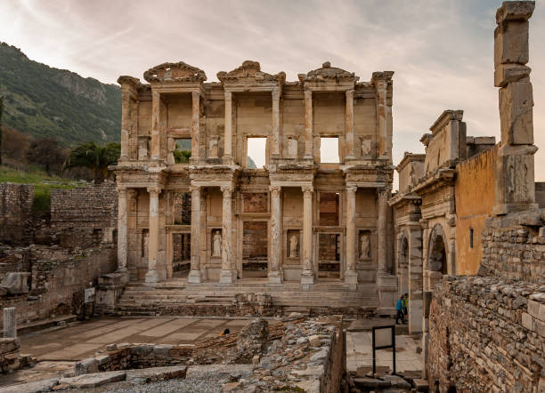 Library of Celsus in Ephesus Ancient City in Turkey. UNESCO World Heritage site. library, celsus, ancient culture, built exterior, greek, rome, statue, ornament, structure celsus library stock pictures, royalty-free photos & images