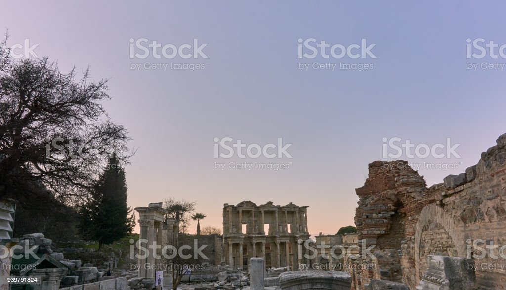 Library of Celsus in Ephesus , Izmir-Turkey stock photo
