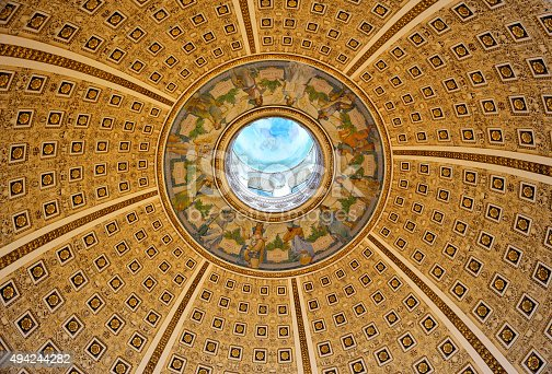 Looking straight up at the Ceiling in the Library of Congress, Waashington DC