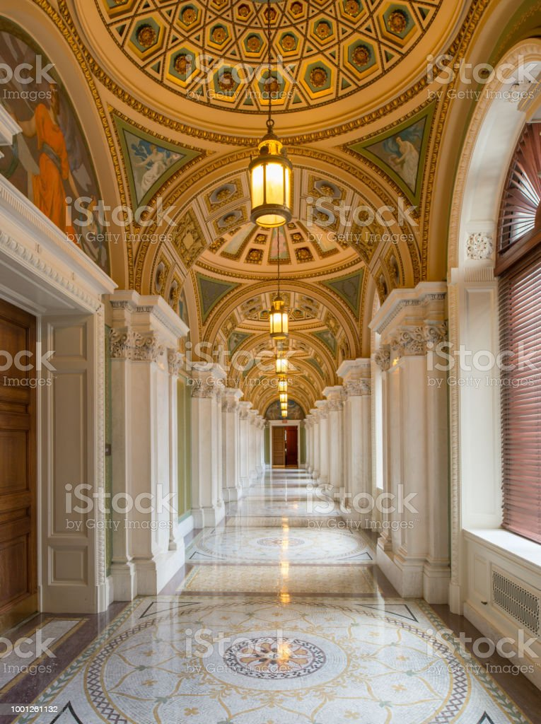 Library of Congress Great Hall Ceiling in Washington, DC stock photo