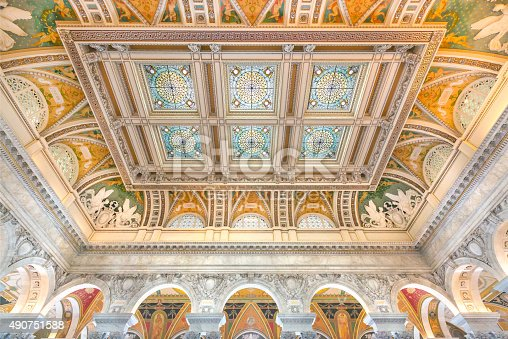 United States Library of Congress Great Hall Ceiling and Stained Glass Detail in Washington, DC.