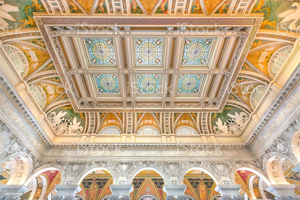 Library of Congress Great Hall Ceiling stock photo