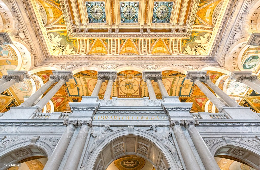 Library of Congress Great Hall Low Angle stock photo