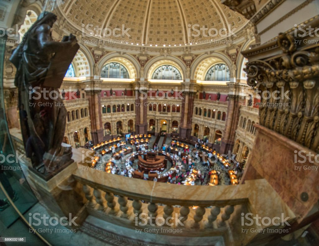 Library of Congress Jefferson Building Reading Room High Angle in Washington, DC stock photo