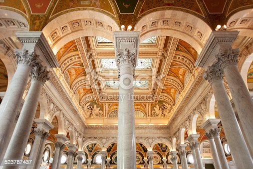 columns and ceiling in Library of Congress, Washington, D.C.