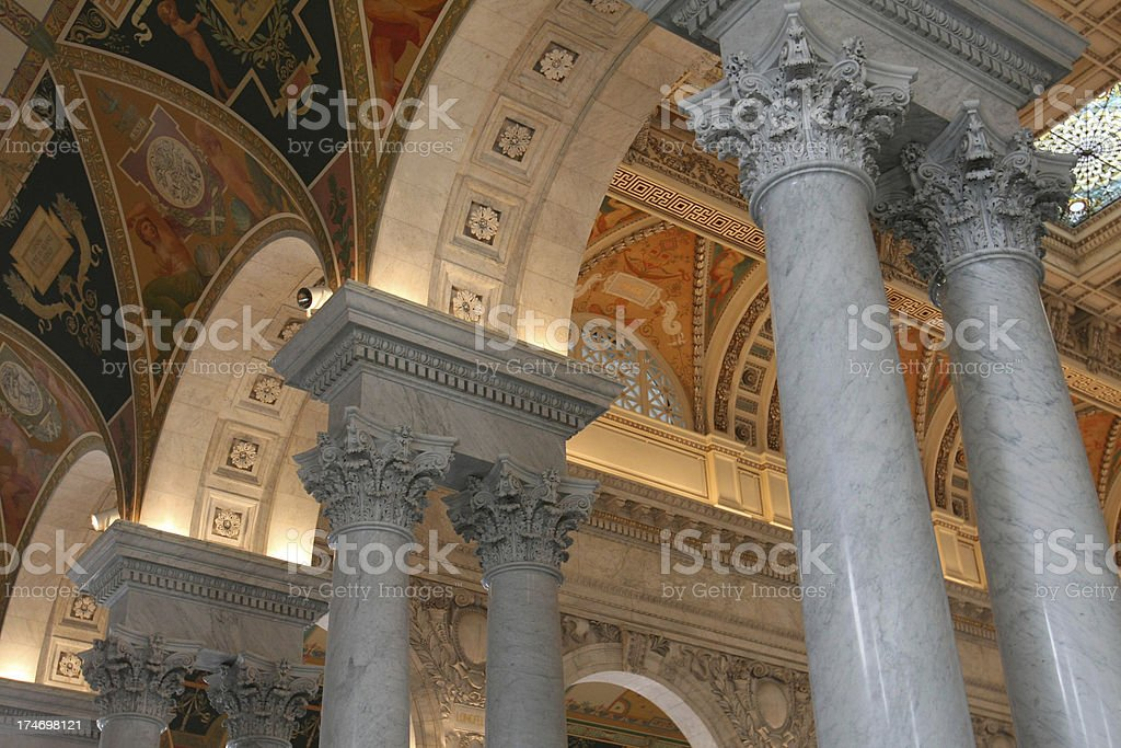 Library of Congress Pillars royalty-free stock photo
