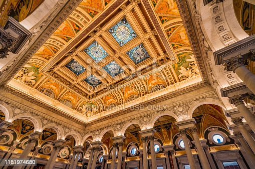 Thomas Jefferson Building Library of Congress Stained Glass Ceiling Washington DC. Opened 1897.  National Library and Primary Research Library of US government.