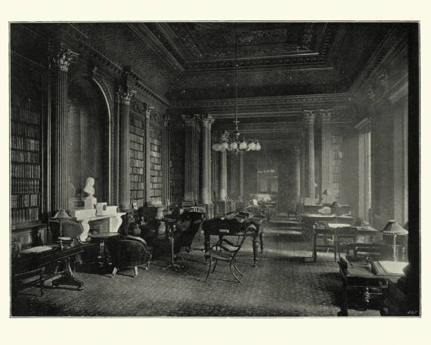 Library of the Reform club, London, 19th Century stock photo