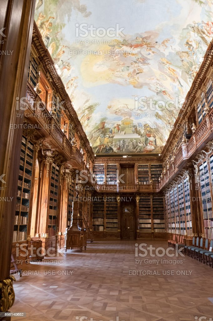 Library of the Strahov Monastery, Long barrel vault ceiling of Philosophical Hall built in the 17th Century to house books from Moravian Louka Convent. stock photo