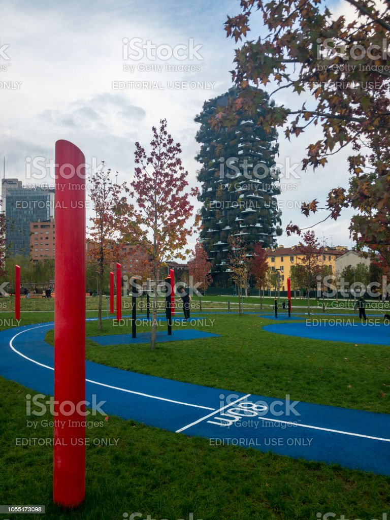 Library of trees, new Milan park. Vertical forest.Lombardy, Italy - foto stock
