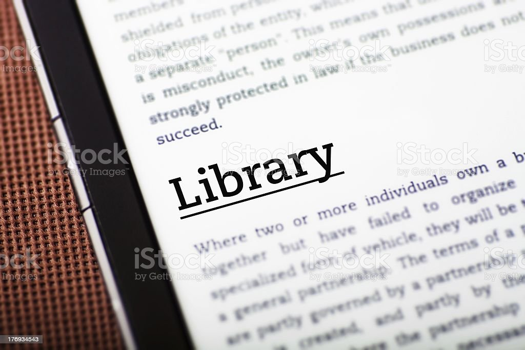 Library on tablet screen, ebook concept royalty-free stock photo