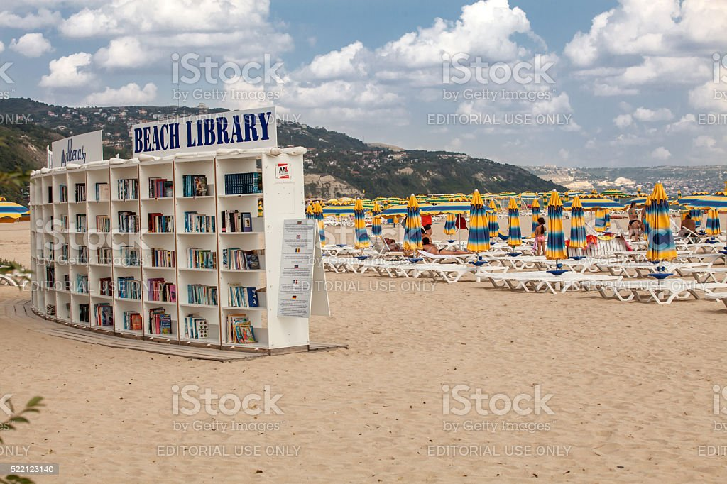 Library on the beach, Albena. Luxury resort near Varna, Bulgaria stock photo
