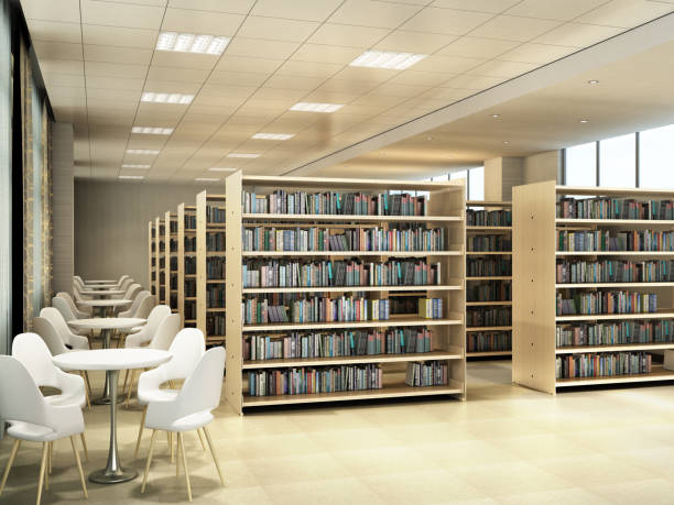 Library room bookshelves tables with chairs light library room 3d render stock photo