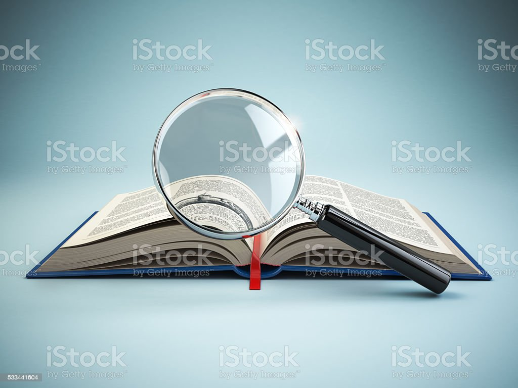 Library search. Loupe and book. Educational concept. stock photo