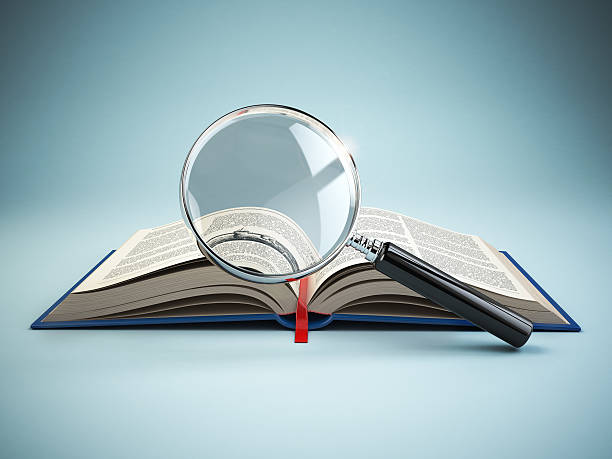 library search. loupe and book. educational concept. - literature stock pictures, royalty-free photos & images