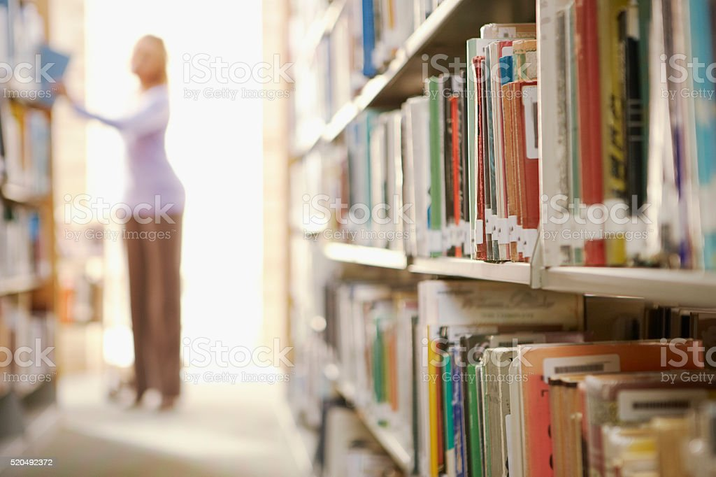 Library shelves stock photo
