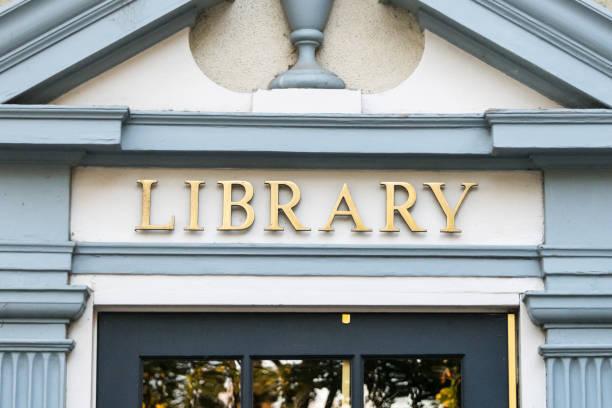bibliothek-schild - bibliothekschilder stock-fotos und bilder