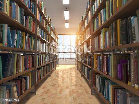 istock Library stacks of books and bookshelf. 873620756