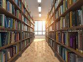 Library stacks of books and bookshelf. 3d illustration\n