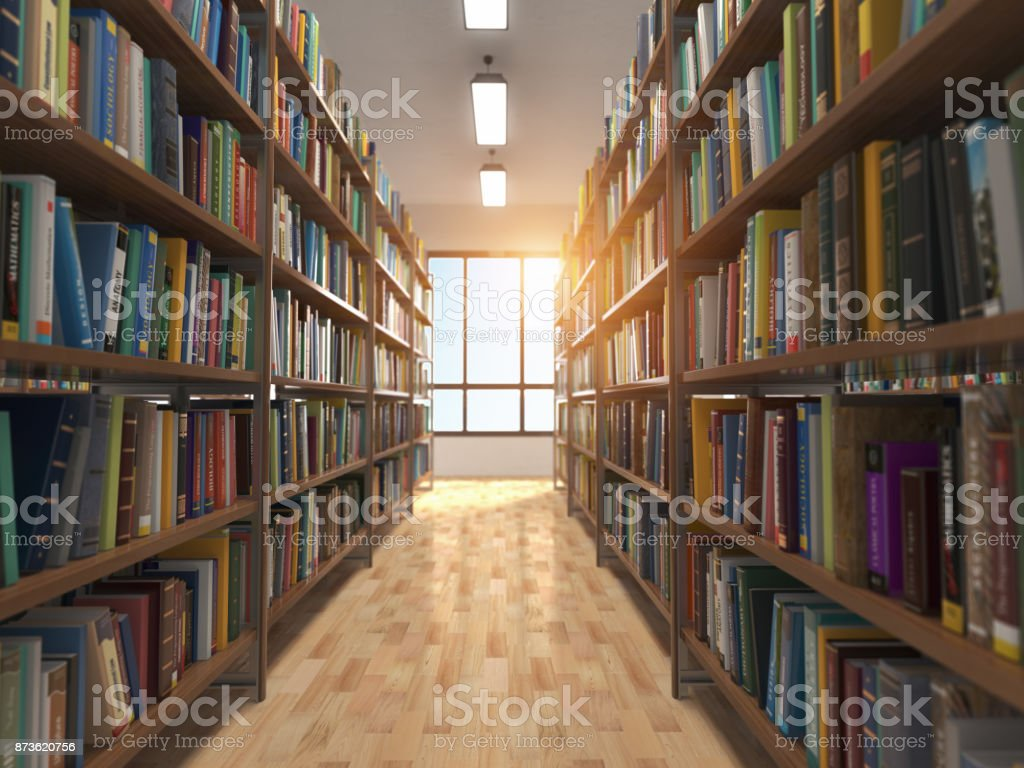 Library stacks of books and bookshelf. stock photo