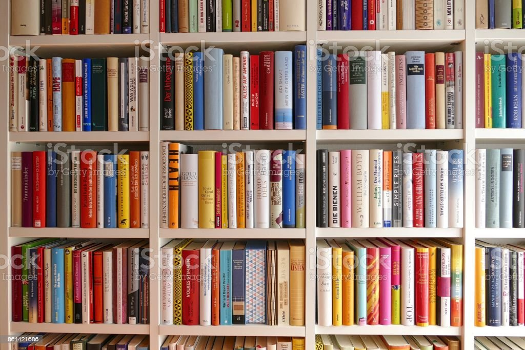 Library: view of colorful rows of books stock photo