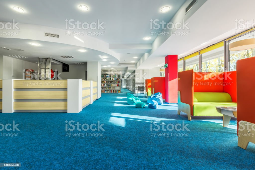 Library with individual study space stock photo