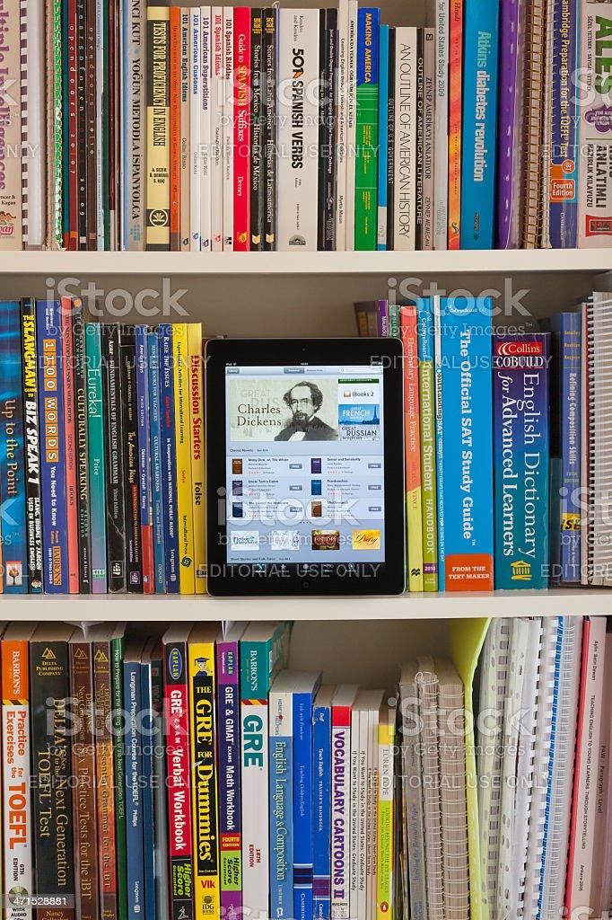 Library with iPad royalty-free stock photo