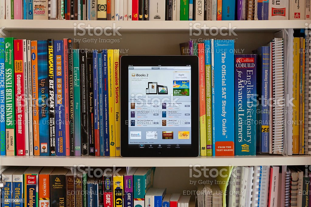 Library with iPad stock photo