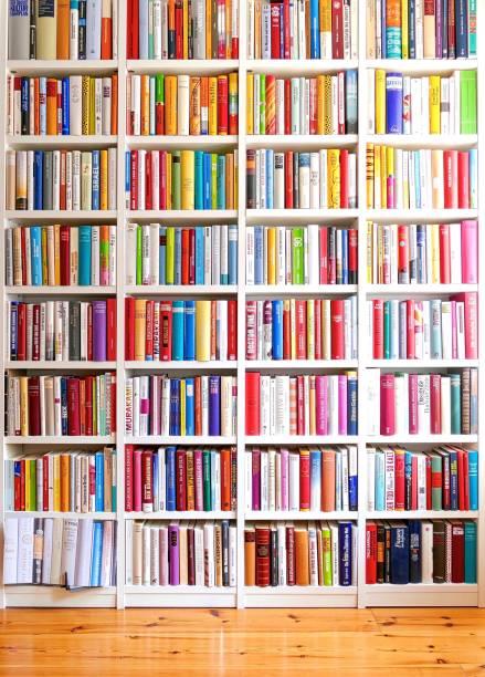 bibliotheek met vele boeken en parketvloer - boekenplank stockfoto's en -beelden