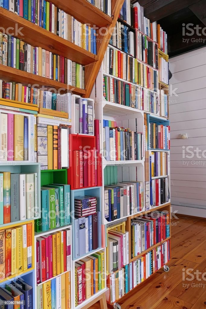 Library with many books stock photo