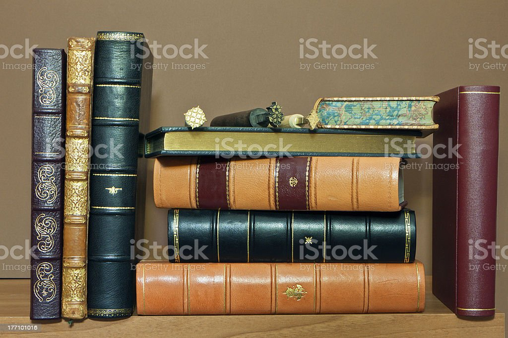 Library with old antique books stock photo