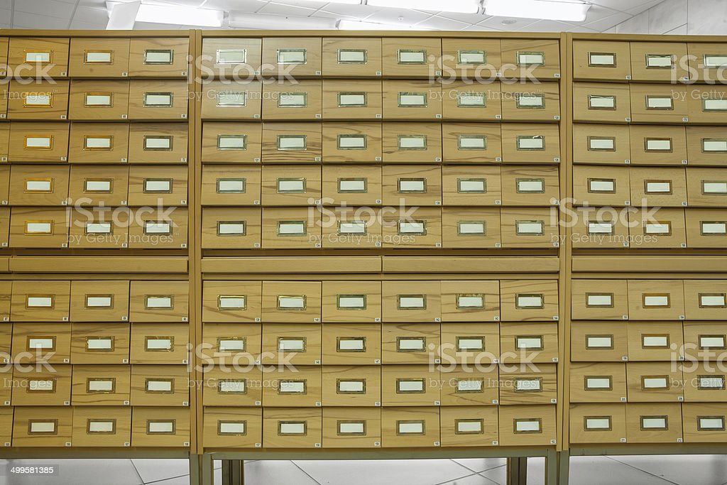 library wooden card catalog stock photo