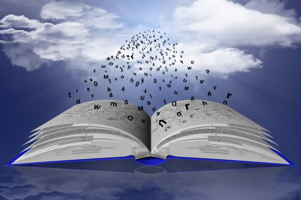 Libro Parole Lettere Cielo nuvole Lettere e parole di libro volano verso il sole nell'infinito del cielo azzurro. libro stock pictures, royalty-free photos & images