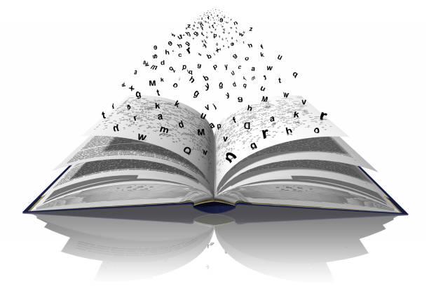 Libro Parole Lettere Lettere e parole volano dal libro verso l'infinito. libro stock pictures, royalty-free photos & images