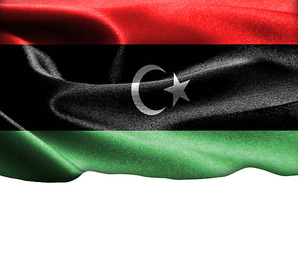libysche flagge auf geschmeidiger seide textur platz für text - ramadan 2016 datum stock-fotos und bilder