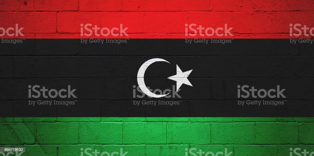 Libya flag painted on a wall stock photo