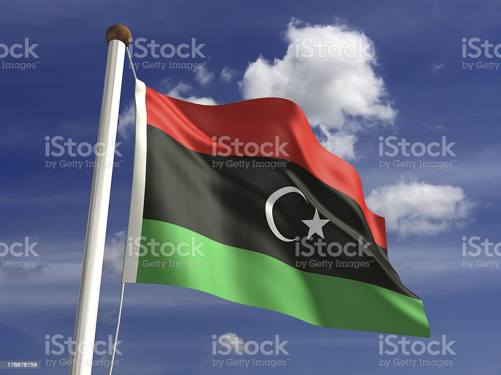 Libya flag (with clipping path) stock photo