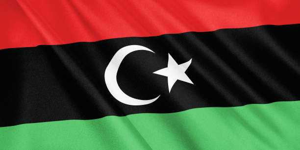 Libya flag waving with the wind, wide format, 3D illustration. 3D rendering. stock photo