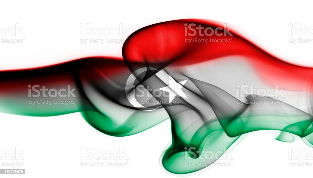 Libya national smoke flag stock photo