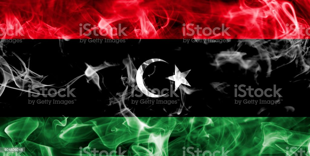 Libya smoke flag stock photo