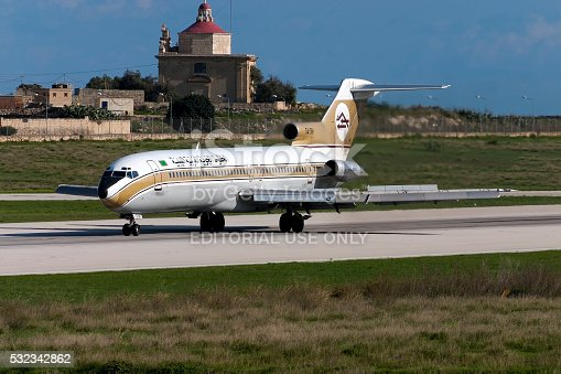 Luqa, Malta - November 10, 2004: Libyan Arab Airlines Boeing 727-2L5/Adv landing runway 32, arriving from Tripoli.