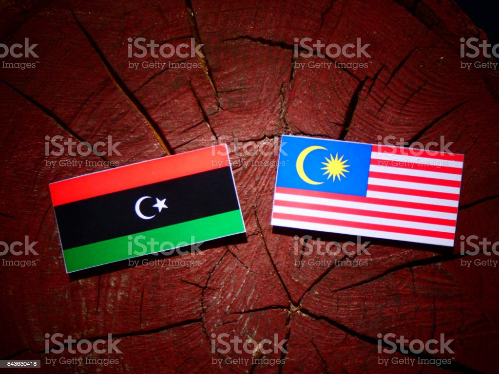 Libyan flag with Malaysian flag on a tree stump isolated stock photo