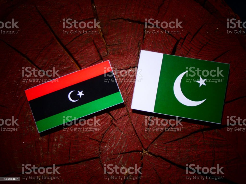 Libyan flag with Pakistan flag on a tree stump isolated stock photo