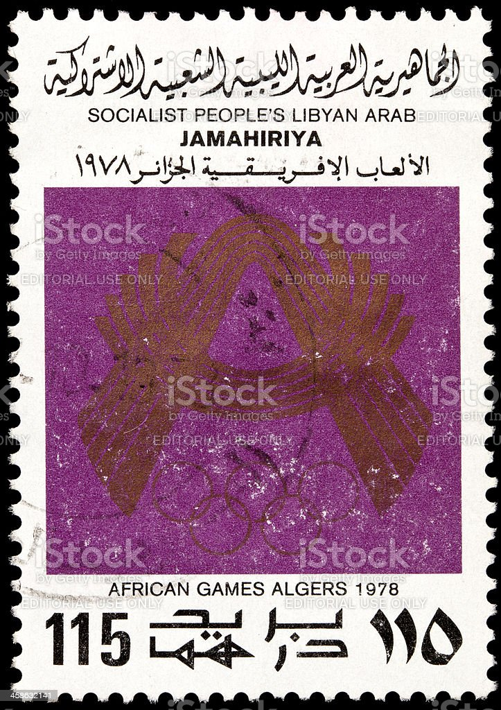 Libyan Postage Stamps royalty-free stock photo